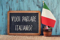 Question do you want to speak Italian in Italian. A chalkboard with the question vuoi parlare italiano?, do you want to speak Italian? written in Italian, a pot Royalty Free Stock Photos