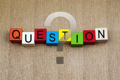 Question - education & business sign. Question - education & business terms sign series royalty free stock photography