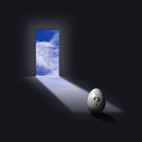 Question Egg. Open doorways light reveals question egg Royalty Free Stock Photography