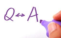 Question et réponse Photo stock