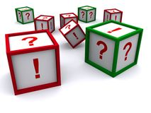 Question and exclamation cubes Stock Image