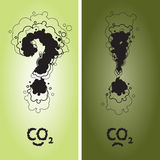 Question and exclamation mark with CO2. Sign written as a smoke clouds Royalty Free Stock Photo