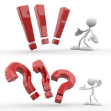 Question and exclamation mark. 3d character responds to a question and exclamation mark Royalty Free Stock Photography