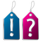 Question and exclamation mark label Stock Photography