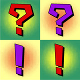Question and exclamation mark in pop art style Stock Photo