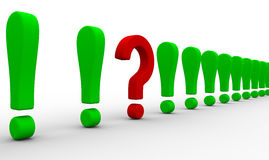 Question among exclamation marks Royalty Free Stock Photography