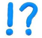 Question and exclamation marks. Plasticine question and exclamation marks Stock Photo