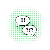 Question and exclamation marks icon, comics style Royalty Free Stock Photos