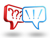 Question and exclamation marks in speech bubbles. 3d Royalty Free Stock Image