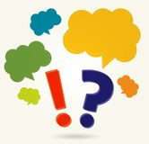 Question and exclamation marks with speech bubbles Stock Image