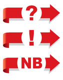Question, exclamation and Nota Bene symbol. Arrow Vector Illustration