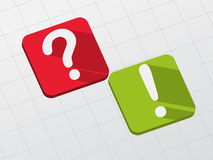 Question and exclamation signs on flat blocks Royalty Free Stock Image