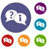 Question and exclamation speech bubbles icons set. In flat circle reb, blue and green color for web Royalty Free Stock Photography