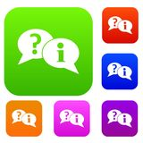 Question and exclamation speech bubbles set collection. Question and exclamation speech bubbles set icon in different colors isolated vector illustration Royalty Free Stock Image