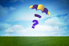 The question falling from sky on parachute Royalty Free Stock Photo