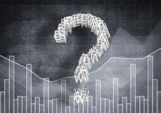 Question of financial growth, 3D rendering. Big question mark on graphs and diagrams background, 3D rendering Stock Image
