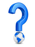 Question and globe on white background Royalty Free Stock Photo