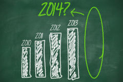 Question on 2014 graph. Question about 2014 on graph on chalkboard Stock Photography