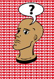 Question head. Illustration (vector) of head with question mark over him Royalty Free Stock Image