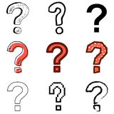 Question icons set. Red question icons vector set stock illustration