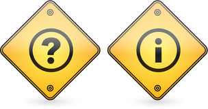 Question and Information Mark Button Label Stock Photo