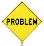 Question jaune de problème de précaution de panneau d'avertissement de problème Photo libre de droits