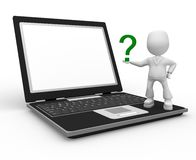 Question and laptop Royalty Free Stock Images