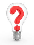 Question in a lightbulb Stock Photo
