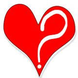 Question of love. Heart with question mark Royalty Free Stock Photos