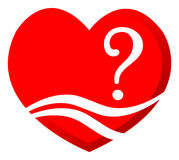 Question of Love. Simple illustration of question of Love concept with heart logo Royalty Free Stock Photo