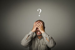 Question. Man in thoughts. Man in thoughts. Expressions, feelings and moods Royalty Free Stock Images
