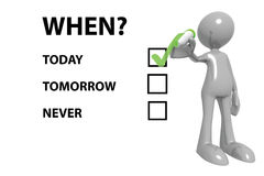 The question When?. Manikin standing next to question 'When?' with 3 tick boxes marked today, tomorrow and never, with today ticked green, white background Stock Photo