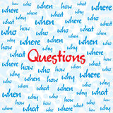 Question and many other word background Stock Images