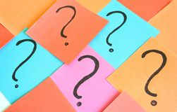 Question mark. Some question marks on papers stock illustration