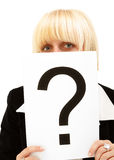 Question mark. / Closeup of a businesswoman holding  on white background Stock Photos