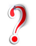 Question mark. Sticker over a white background with a  pushpin Stock Photo