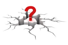 Question mark. And crack. 3D render Royalty Free Stock Photos