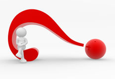 Question mark. 3d person character and a question mark - 3d render illustration Royalty Free Stock Photos