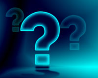 Question Mark. Illustration of a big light blue neon question mark with a dark background Royalty Free Stock Photo