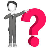 Question Mark. 3d Human with a Red Question Mark Royalty Free Stock Photo