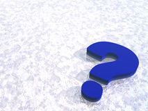 Question mark. Blue question mark on snow background - 3d illustration Royalty Free Stock Photo