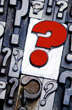 Question Mark. Letterpress question mark background. Cross processed, narrow focus Royalty Free Stock Photography