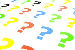Question mark. Series of question marks of different colors stock photo