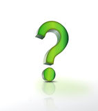 Question mark. Green Color 3d Question mark on white background