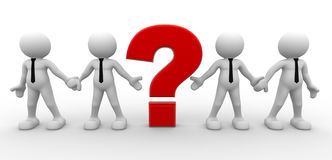 Question mark. 3d people - men, person and a question mark. Businessman Stock Image