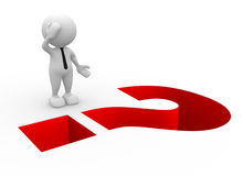 Question mark. 3d people - man, person and question mark as a hole Royalty Free Stock Photo