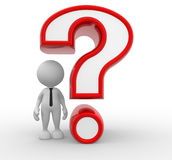 Question mark. 3d people - man, person and a question mark Stock Image