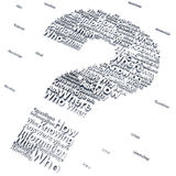 Question mark. With questions like who,what where,when,why and how that can represent confusion in communication Royalty Free Stock Photo