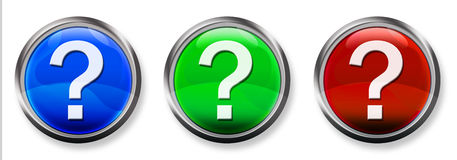 Question Mark 3-D RGB Button. Blue, Green and Red 3-D circle web buttons with steel border Royalty Free Stock Photography