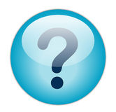 Question Mark. The glassy blue Question Mark button Stock Image